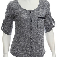 rue21 :   ROLL SLEEVE BUTTON FRONT