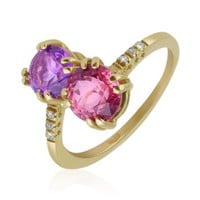 Forzieri Designer Rings Double Gemstone and Diamond Yellow Gold Ring