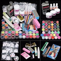 ISHOWTIENDA manicure set 21 in Professional Acrylic Glitter Color Powder French nail art Deco Tips nail Set gel nail polish set