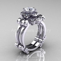 Art Masters Caravaggio 14K White Gold 1.0 Ct White Sapphire Diamond Engagement Ring Wedding Band Set R606S-14KWGDWS