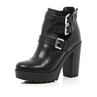 River Island Womens Black leather chunky buckle cut out boots