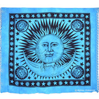 Blue Bright Sun Moon Dorm Room Hippie Tie Dye Tapestry Wall Hanging
