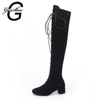 GENSHUO Women Boots Black Long Over the Knee Boots Square Heel 5CM Lace Up Cross Tied Thigh High Boots for Women Brown
