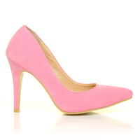 DARCY Baby Pink Faux Suede Stilleto High Heel Pointed Court Shoes