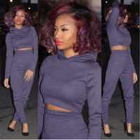 Purple Hooded Cropped Top and Pants Set