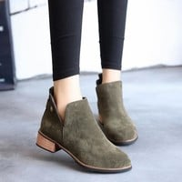 Matte England Style Vintage Dr. Martens Flat With Heel Shoes [9448882247]