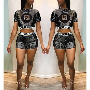 FENDI Fashionable Women Casual Sequin Embroidery Short Sleeve Top Shorts Set Two-Piece Black