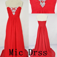 High quality Sweetheart Sleeveless Chiffon Crystal Beading floor-length Long Prom/Evening/Party/Homecoming/Bridesmaid/Cocktail/Formal Dress