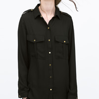 Press-studs blouse with pockets