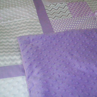 Baby Blanket - Lavender and Gray Baby Blankets - Minky Blanket