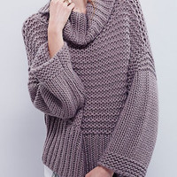 Gray Roll Neck Cable Knit Loose Sweater