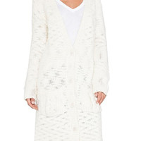 White Button-Up Long Cardigan