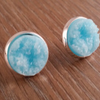 Druzy earrings- light blue drusy silver tone stud druzy earrings