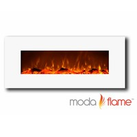 "Houston 50"" Electric Wall Mounted Fireplace White"