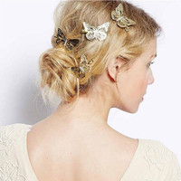 6Pieces Gold Hollow Butterfly Bridal Hair Pins Clip Headpiece Barrettes