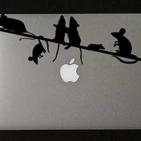 Mice On A Wire Vinyl Decal   Luulla