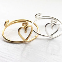 Heart Ring Set of 2,Best friend heart rings,2 heart rings,friendship rings,sister rings,love rings,adjustable rings,birthday gift,duo rings