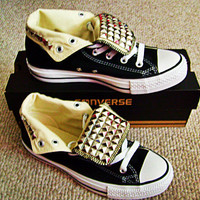 Custom Adult Studded Converse Shoes by ChaoticMayhem on Etsy