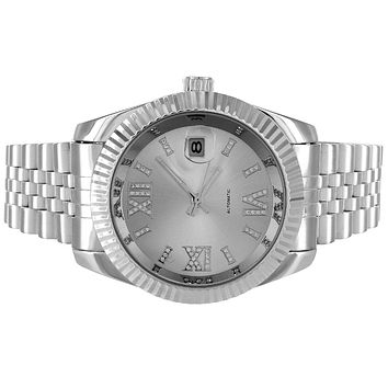Stainless Steel Roman Dial Silver Fluted Automatic Date Watch