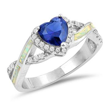 Heart Blue Sapphire with Crisscross Band in Clear CZ Stones and White Lab Opal Smooth Inlay