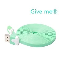 Give me®1PCs Extended Extra Long Noodle Flat USB to 8 Pin Data Sync & Charging Cable Charger Power Cord Wire for iPhone 5 5s 5c iPod Touch Nano 7th Gen (10 FT green)