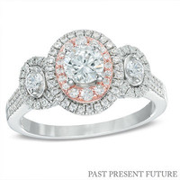 1 CT. T.W. Diamond Double Frame Past Present Future® Ring in 14K Two-Tone Gold - View All Rings - Zales