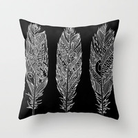 Patterned Plumes - White Throw Pillow by Kyle Naylor