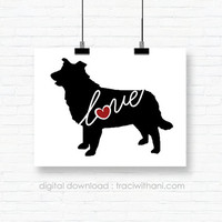 INSTANT DOWNLOAD: Border Collie - Silhouette, Print, Digital, Dog, Breeds, Gift, Wall Art, Artwork, Printable, Wall Hanging, Instant, DIY