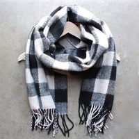 plaid scarf with fringe tassels (3 colors)