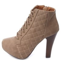 Quilted Lace-Up Chunky Heel Platform Booties - Taupe