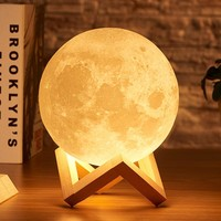 3D Print Moon Lamp 2colors LED Night Light for Home Christmas Decoration