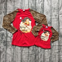Christmas baby girls Mom and Me raglans Children girls santa clause Merry Christmas Y'all red top raglans leapord long sleeve