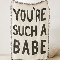 Calhoun & Co. You're Such A Babe Woven Throw Blanket | Urban Outfitters