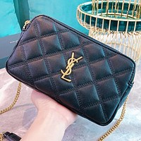 Hipgirls YSL Fashion new leather chain shoulder bag handbag crossbody bag Black