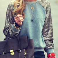 Green Silver Long Sleeve Sparkely Glittery Cozy Costume Sequined Sweatshirt