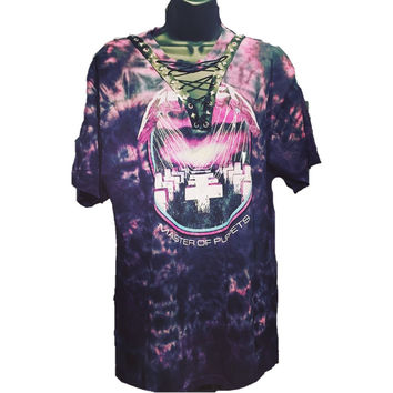 Purple tie dye Metallica Lace up Band Tee