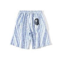 Bape summer Japanese tide brand Vertical stripes casual beach shorts men and women the same Large size five-point shorts