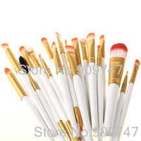Pro 20Pcs Makeup Brushes White and Golden Colors Set Powder Foundation Eyeshadow Eyeliner Lip Brush Tool