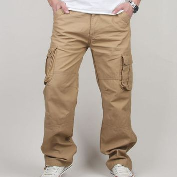 30-44 Plus size High Quality Men's Cargo Pants Casual Mens Pant Multi Pocket Military Tactical Long Full Length Trousers