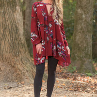 Flowing Freely Dress, Burgundy