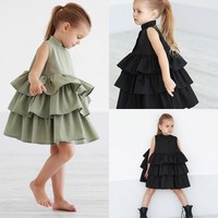 Girls Skater Dress Casual Toddler Dress Tiered Ruffle Baby Girl Dresses