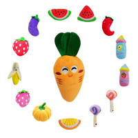 Dog Toys Pet Puppy Chew Squeaker Squeaky Plush Sound Fruits Vegetables And Feeding Bottle Toys