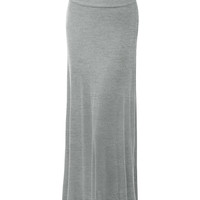 LE3NO Womens Plus Size Floor Length Maxi Skirt With Stretch