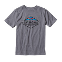 PATAGONIA BOY'S FITZ ROY CREST COTTON/POLY T-SHIRT NARWHAL GREY