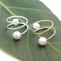 Coiled Wrapped Pearl Ring in Gold / Silver, R0013G