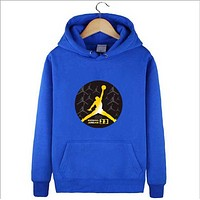 Jordan autumn and winter new trend basketball hooded sweater Blue