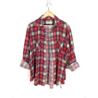 Vintage Flannel Shirt, Distressed Flannel, Red & Navy Blue Plaid Long Sleeve Shirt, 90s Grunge Soft Thin Flannel Button Down -- Mens M / L