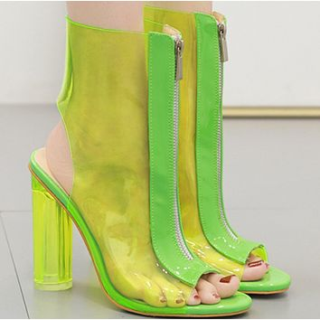 New hot sale fish mouth sexy transparent high heel sandals shoes