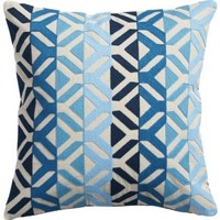 "Appliqué Blues 16"" Pillow With Down-alternative Insert"