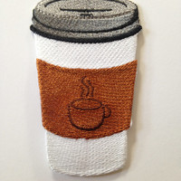 Coffe Cup Iron on Patch